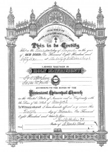 Marriage Certificate provided in 1895 by Susan as proof of marriage.