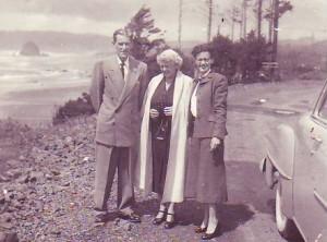 1953 Harry, Margaret, and Shirlee on the Oregon Coast