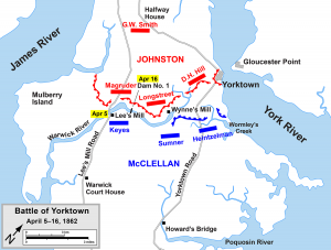 Peter was in Heintzelman's command and encamped in the swampy area near Wormley's Creek.  (Map courtesy of Wikipedia)