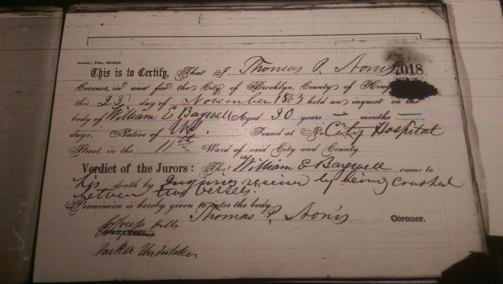 1863 Coroner's findings/death certificate for William Bagwell