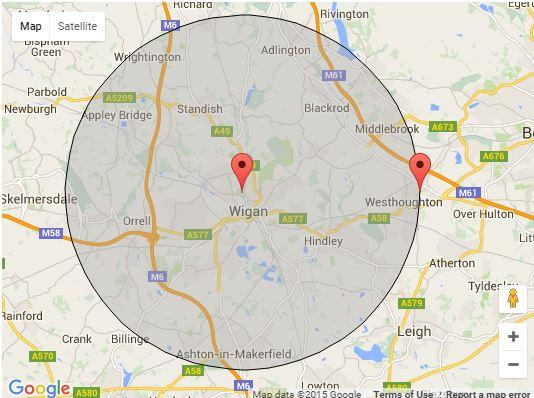 5 mi radius Wigan