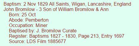 John Bromilow 1829